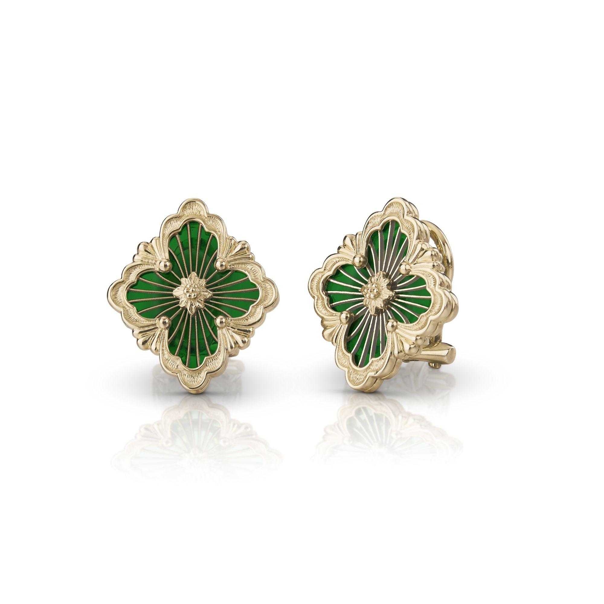 EAR017814 orecchini opera in oro giallo e smalto cattedrale verde buccellato earrings sconto discount