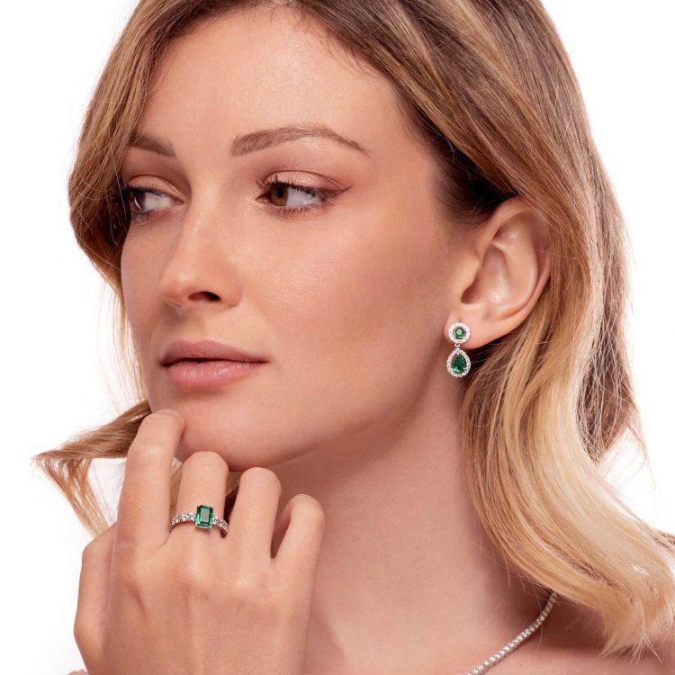 E180255S Orecchini diamanti smeraldi emerald earrings diamond sconto discount a
