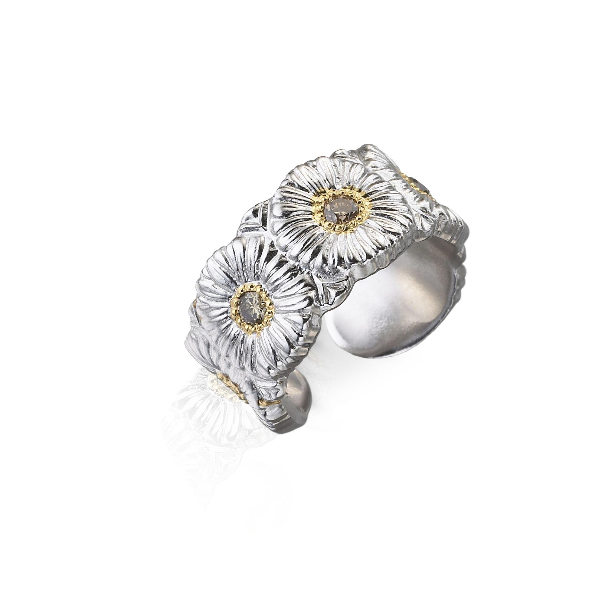 ETE012383 eternelle margherite argento 925 placato oro con brillanti brown BUCCELLATI SCONTO DISCOUNT
