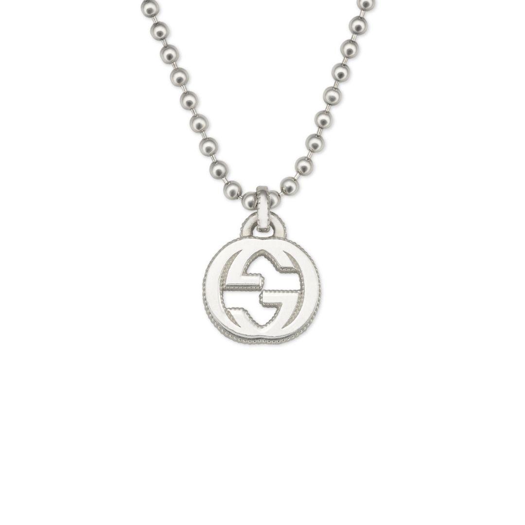 GUCCI-INTERLOCKING-G-COLLANA-NECKLACE-SCONTO-DISCOUNT-SILVER-ARGENTO-ybb479217001 silver necklace sconto discount