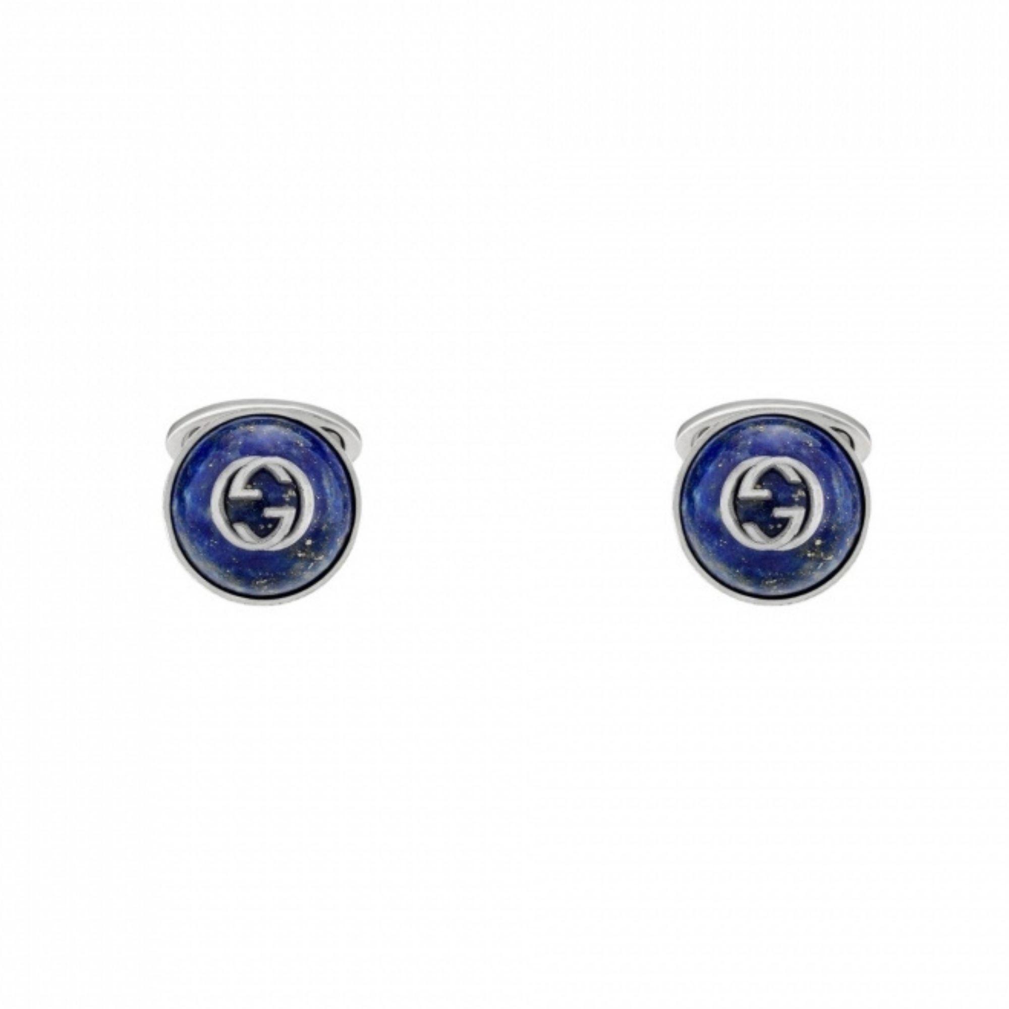Gemelli-polso-argento-GUCCI-GG-e-Lapislazzuli-645589-I5930-8136-GUCCI-cufflinks-sconto-discount-silver