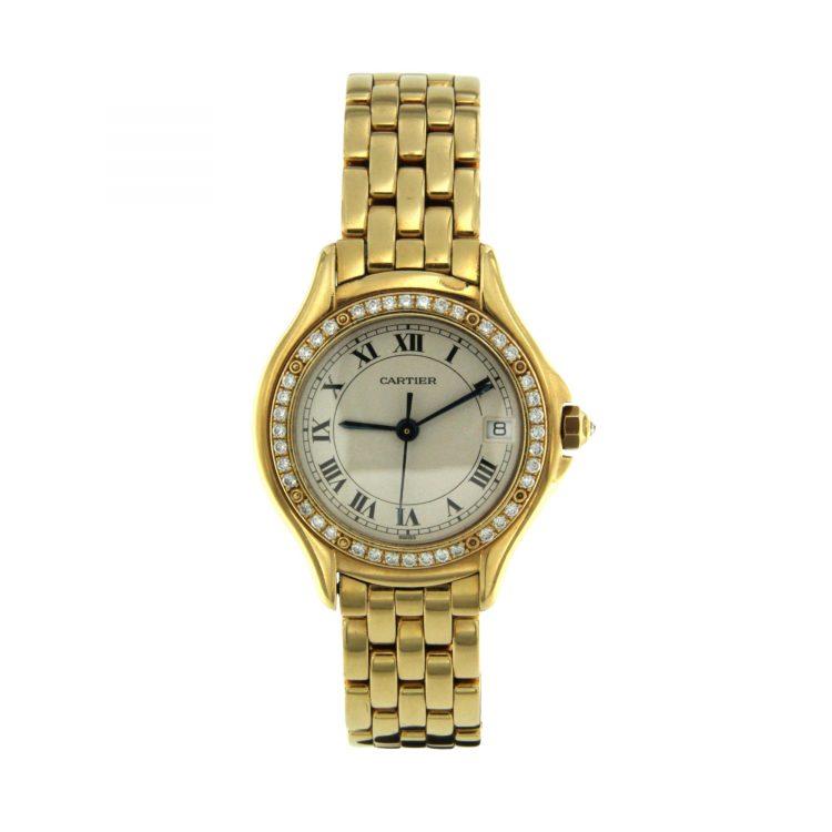 OROLOGIO Cartier Cougar oro 18 ct con diamanti 26 mm ref.887907 SECOND WIRST WATCH SCONTO DISCOUNT