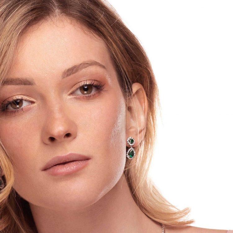 Orecchini diamanti smeraldi E180255S emeralds diamonds earrings sconto discount