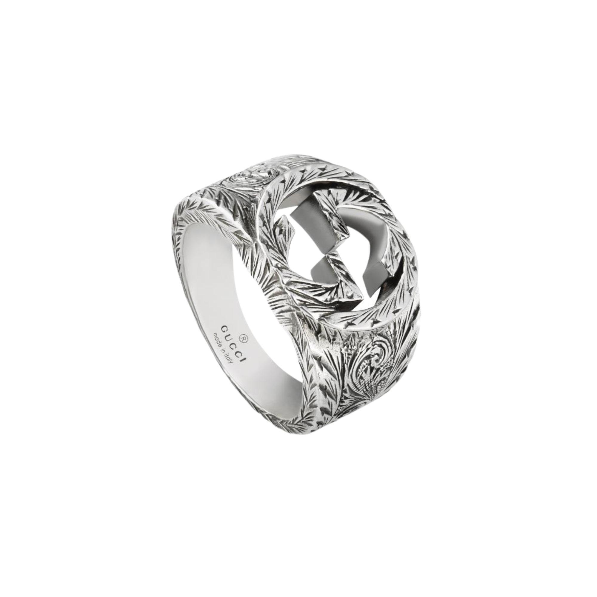 YBC455302001 anello gucci gg argento silver ring sconto discount