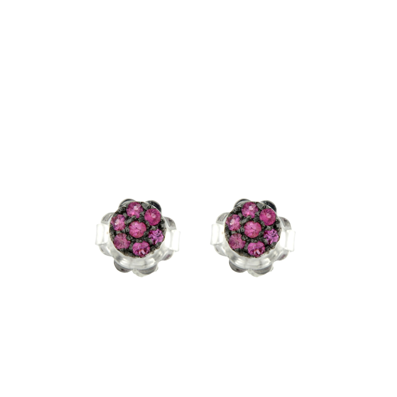 Orecchini oro bianco zaffiri rosa pink sapphires earrings sconto discount