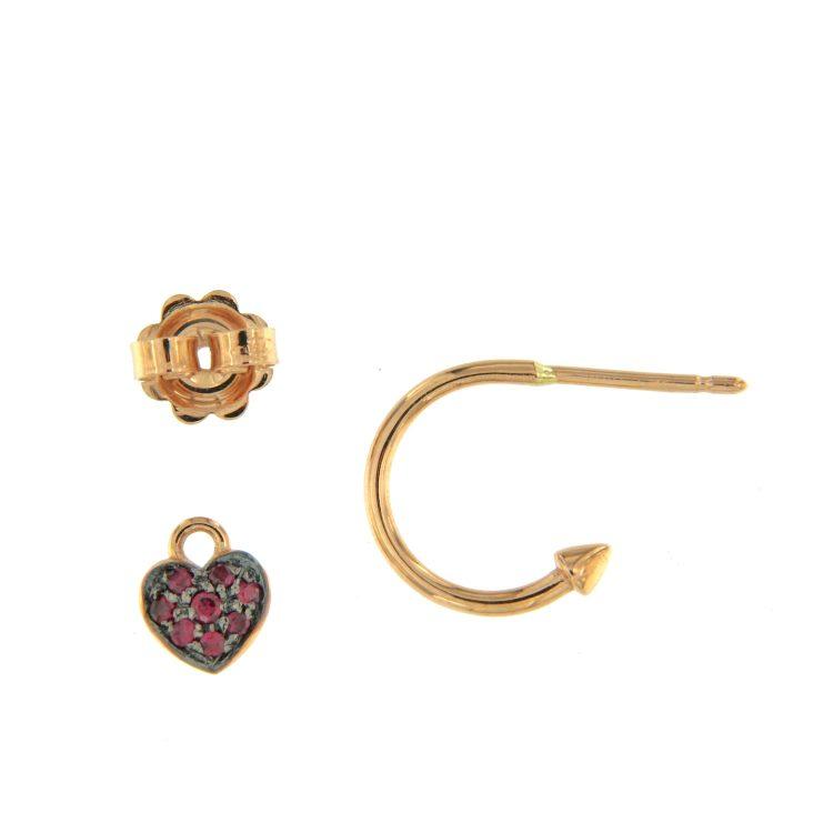 Orecchini oro rosa con cuori rubini heart rybu earrings