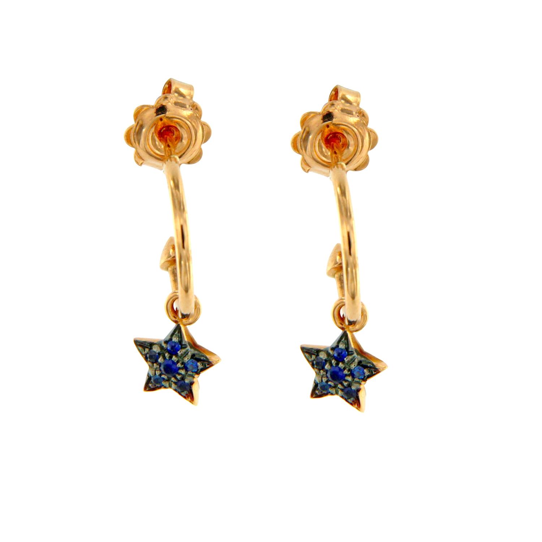 Orecchini oro rosa stelline zaffiri blu stars sapphires earrings sconto discount