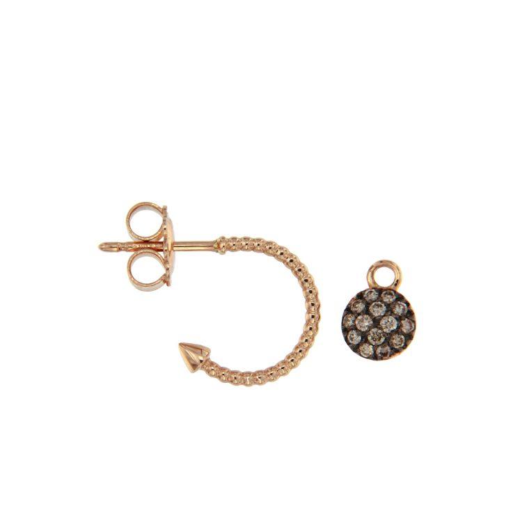 Orecchini oro rosa diamanti brown semicerchi con motivo sfere earrings diamonds sconto discount 45347_brown 1