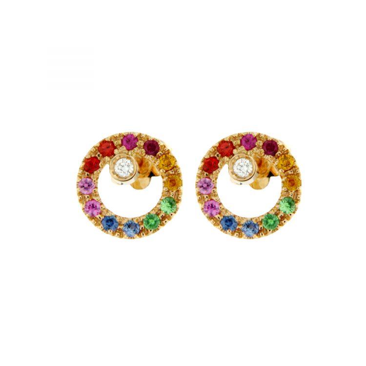 51139A-1 orecchini oro rosa zaffiri colorati e brillanti sconto discount diamonds sapphire earrings