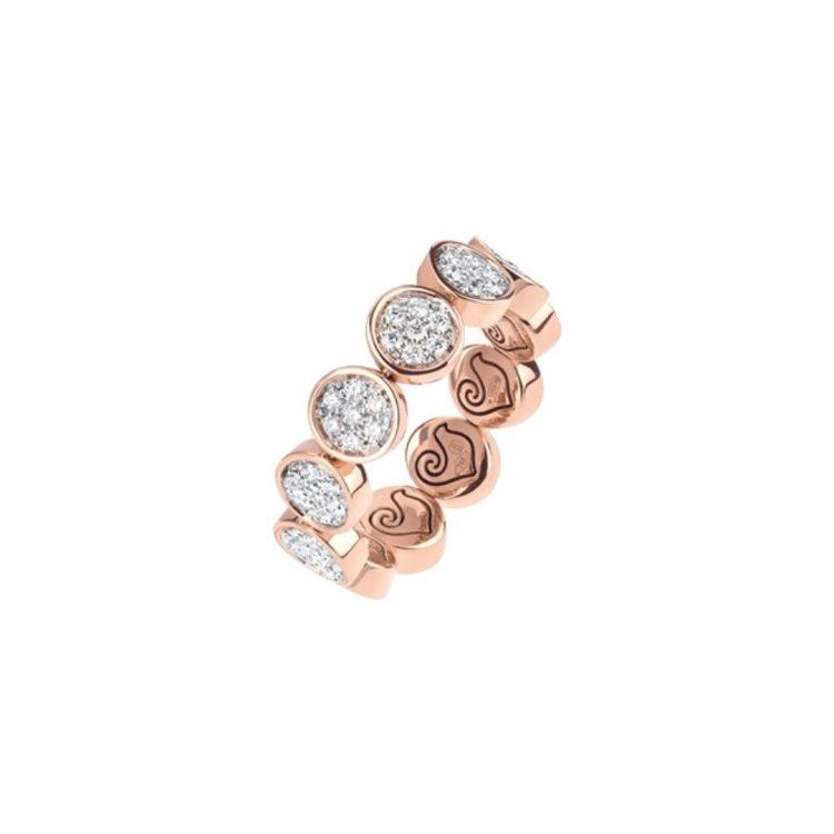 Anello CHANTECLER Paillettes fascia diamanti v diamonds ring sconto discount