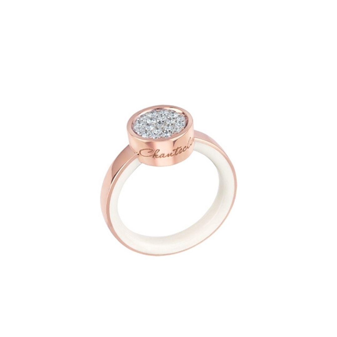 Anello CHANTECLER Paillettes oro rosa diamanti smalto 41139 ring diamonds discount sconto