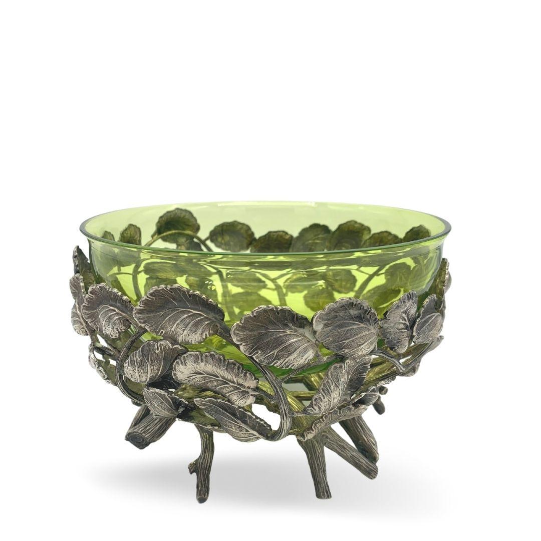 BUCCELLATI Centro tavola in cristallo verde e foglie in argentocentre table silver sconto discount