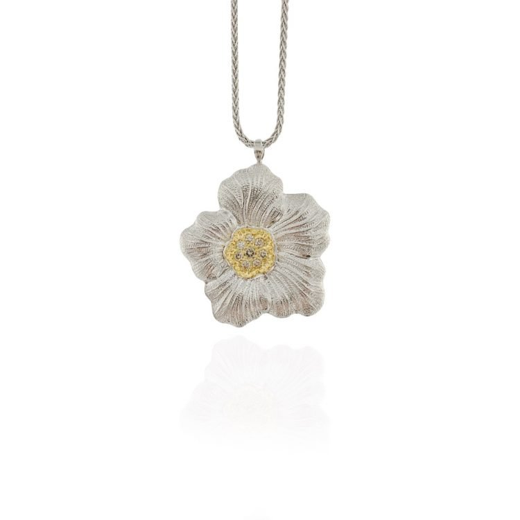 Ciondolo Buccellati Gardenia Diamanti Brown blossom neclace pendant brown diamond sconto discount
