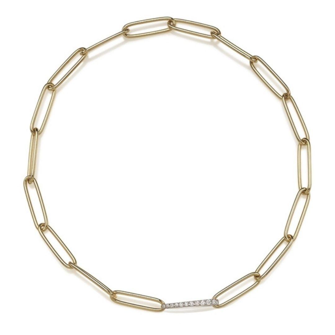 Chantecler Collana maglie ovali on oro giallo 18Kt e diamanti 40567 necklace sconto discount