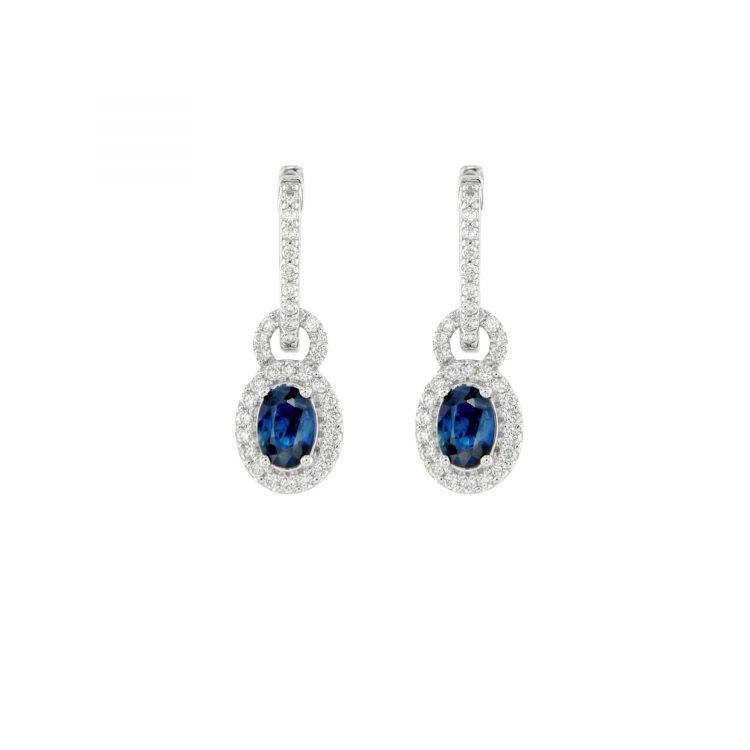 Orecchini in oro bianco con brillanti e zaffiri blu White gold earrings with brilliants and blue sapphires sconto discount