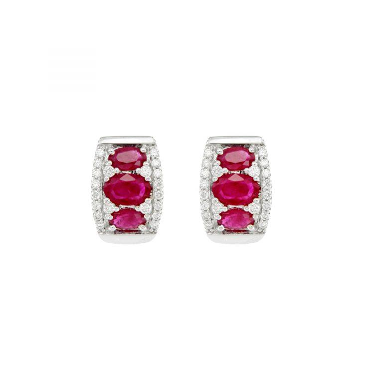 Orecchini in oro bianco con brillanti e rubini birmani White gold earrings with diamonds and Burmese rubies sconto discount ER15237R1