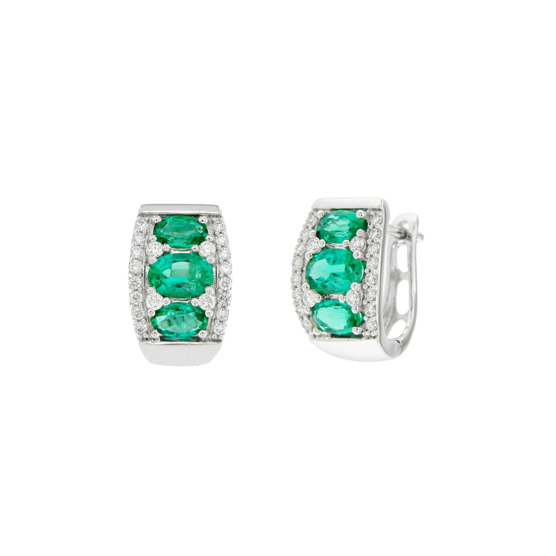 Orecchini in oro bianco 18 ct con brillanti e smeraldi 18K white gold earrings with brilliants and emeralds sconto discount