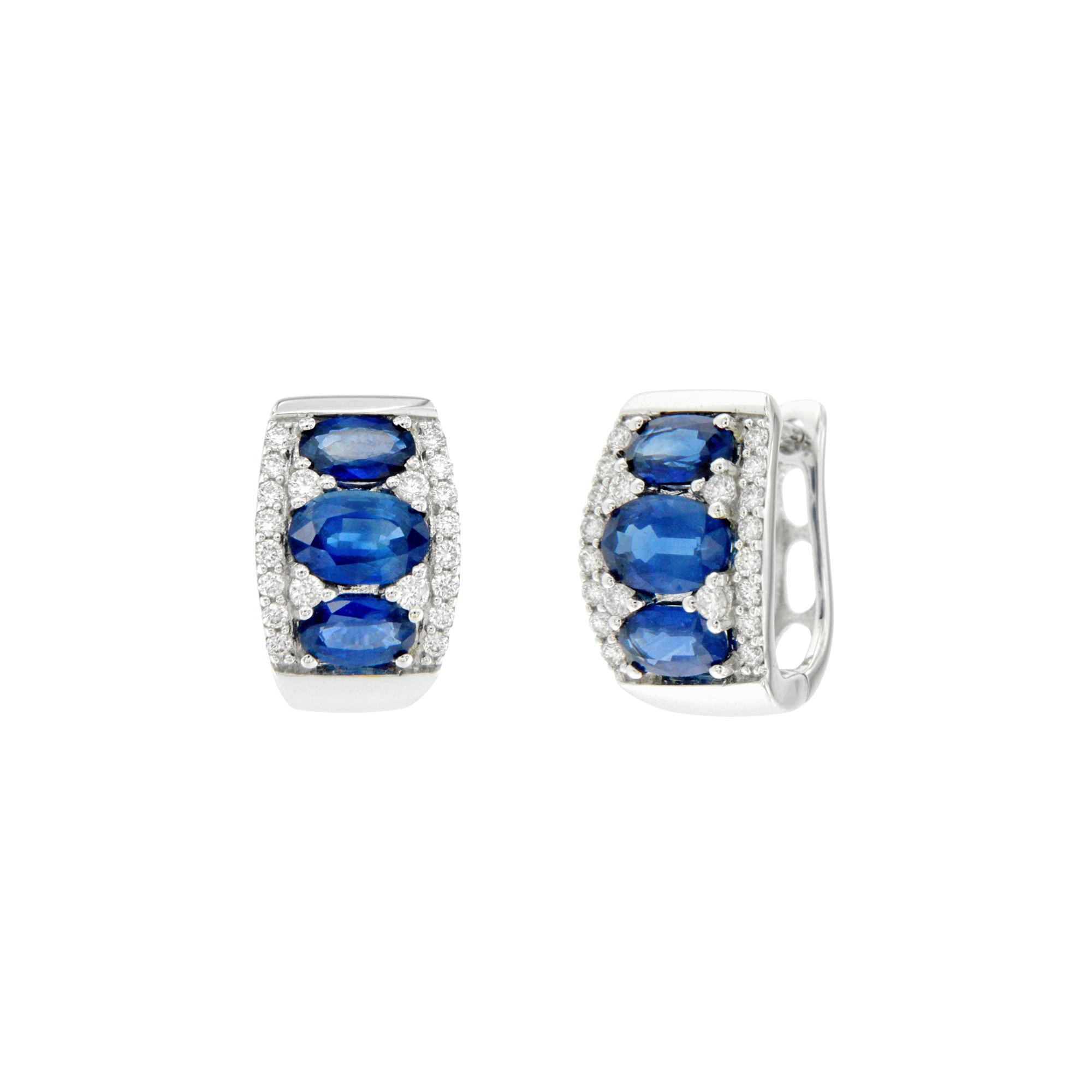 ER15237Z Orecchini in oro bianco con brillanti e zaffiri White gold earrings with diamonds and sapphires sconto discount
