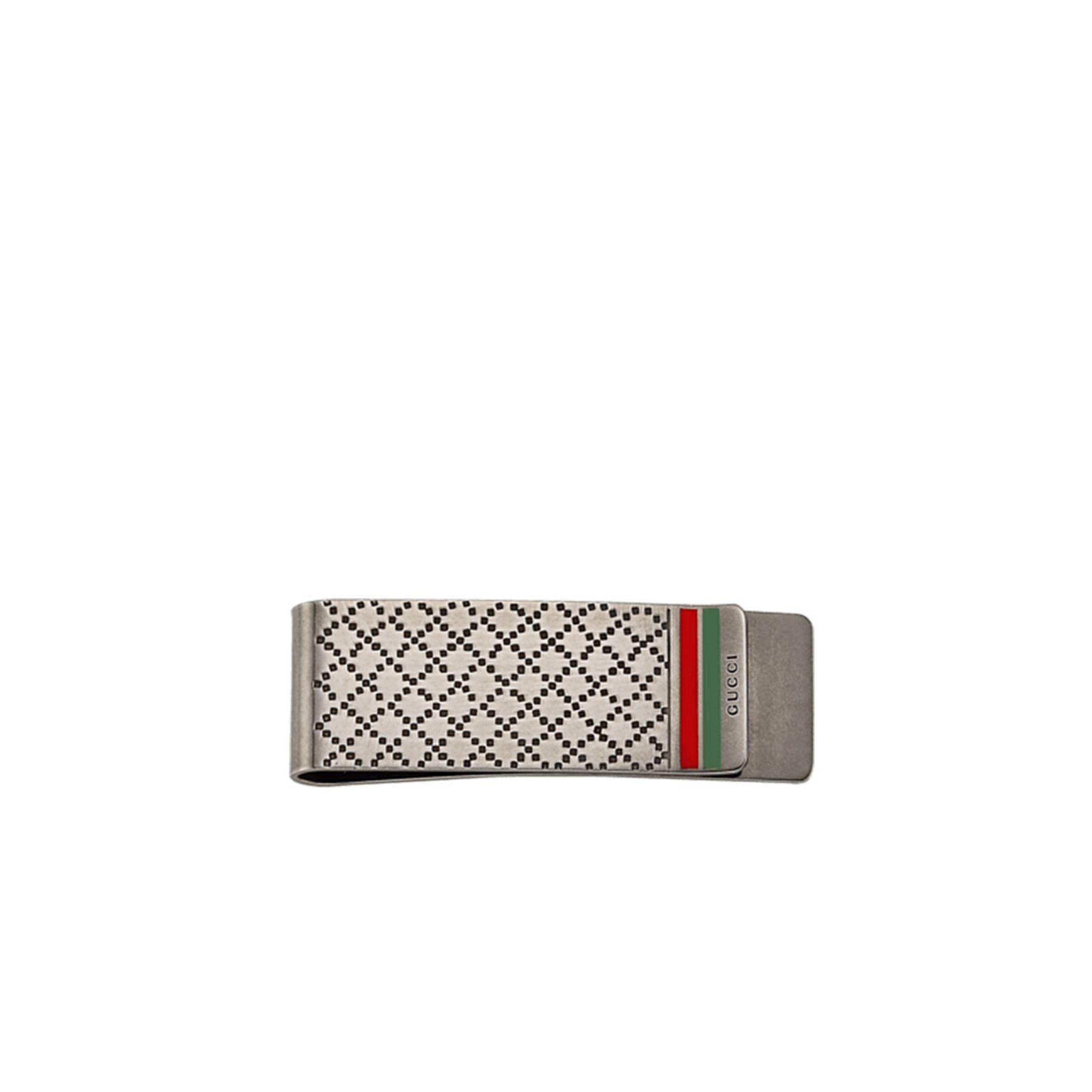 Fermasoldi Gucci argento con trama Diamond e bande colori GUCCI moneyclip silver gucci band