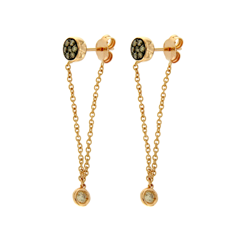 Orecchini oro rosa con catenella earrings diamonds chain sconto discount