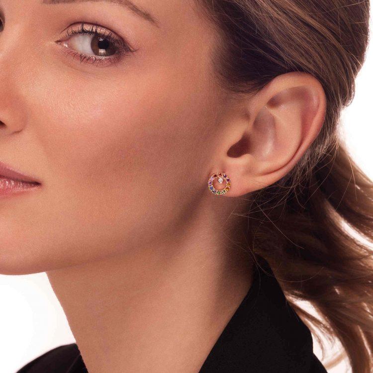 Orecchini CIRCLE oro rosa diamanti zaffiri multicolor earrings sapphires sconto discount a