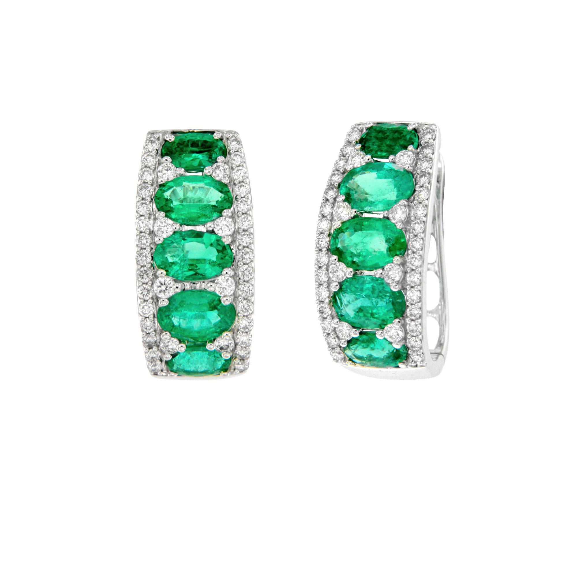 Orecchini in oro bianco 18 ct con brillanti e smeraldi ER15233S1 White gold earrings with brilliants and emeralds ER15233S