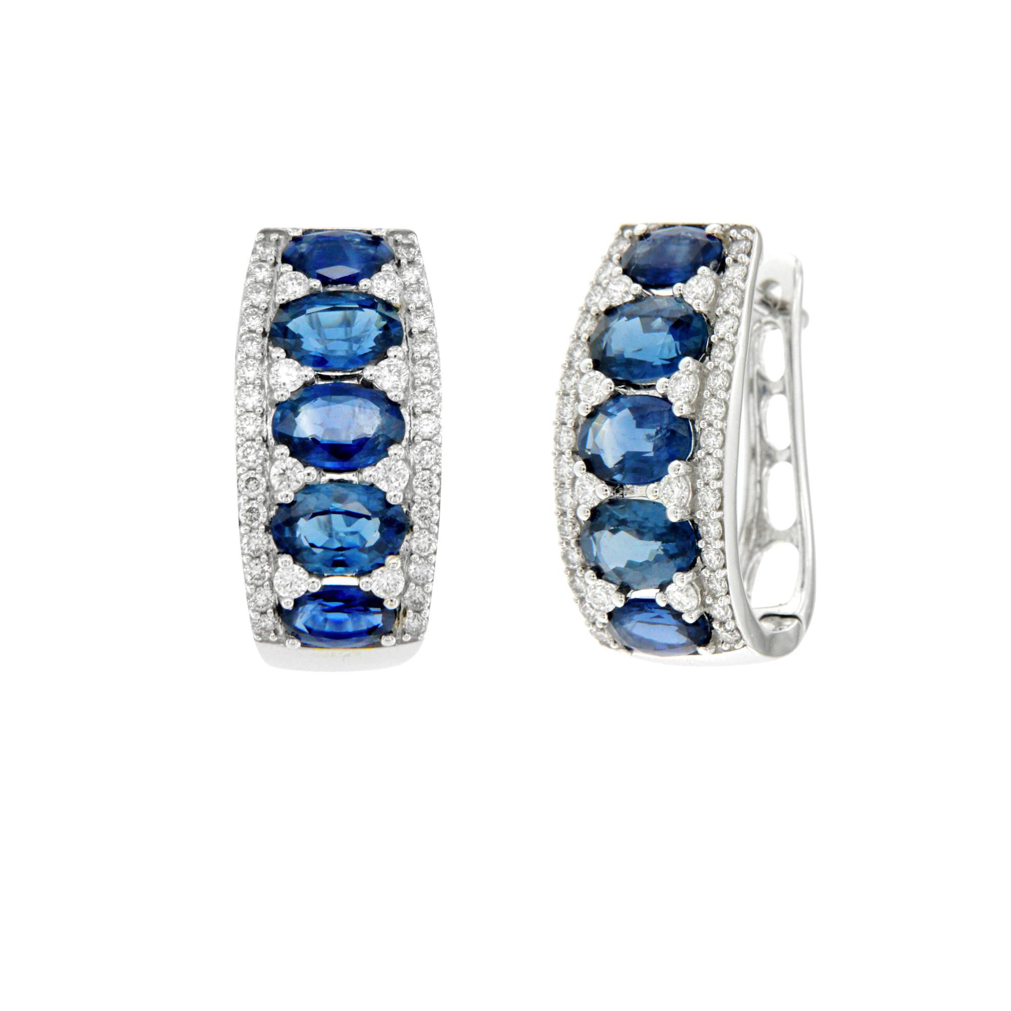 Orecchini in oro bianco con brillanti e zaffiri ER15233Z1 White gold earrings with diamonds and sapphires