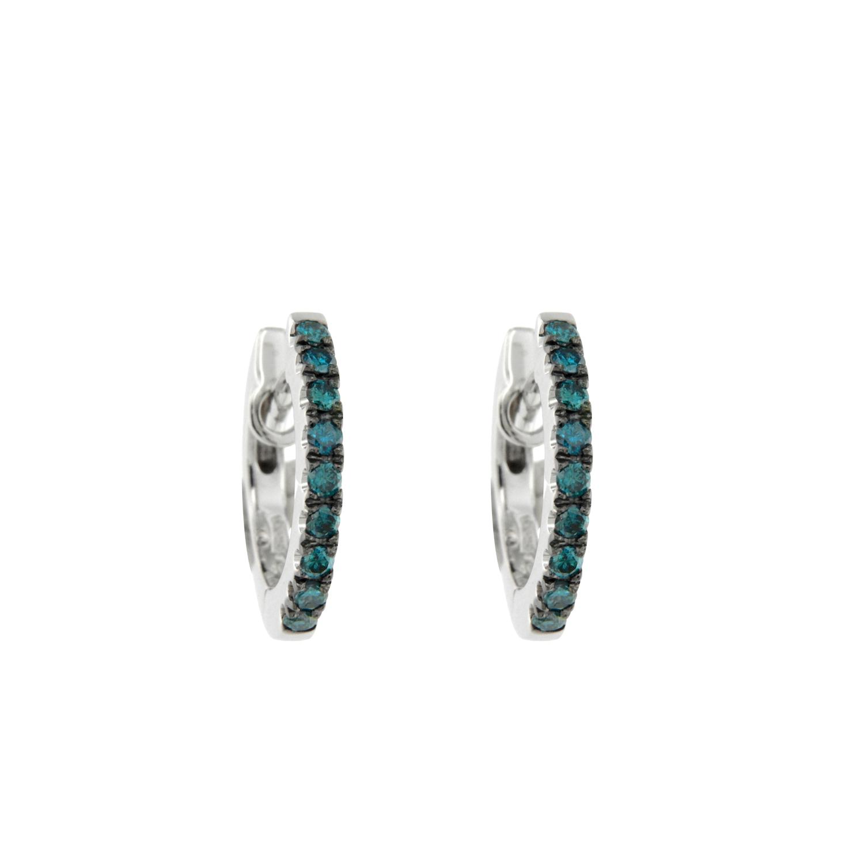 Orecchini oro bianco diamanti blu earrings sconto discount 29987_dblue