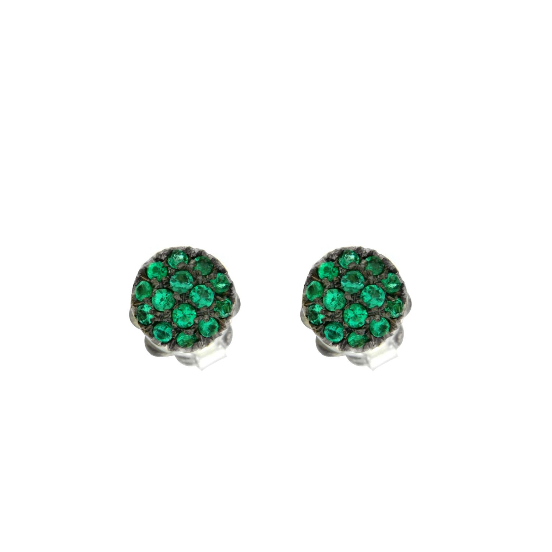 Orecchini oro bianco smeraldi EMERALD earrings sconto discount 45308_sm_G