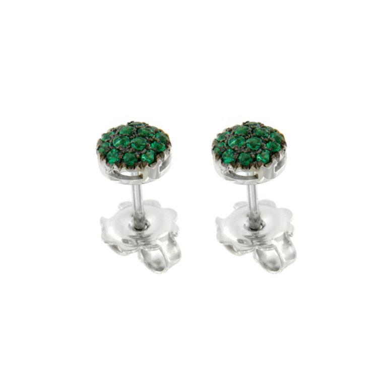 Orecchini oro bianco smeraldi EMERALD earrings sconto discount 45308_sm_G1