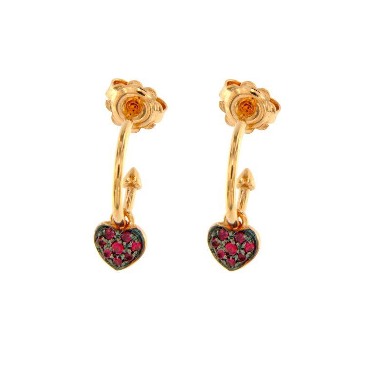 Orecchini oro rosa con cuori rubini heart rybu earrings 45343_Rub