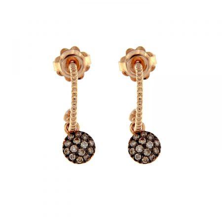 Orecchini oro rosa diamanti brown semicerchi con motivo sfere earrings diamonds sconto discount 45347_brown