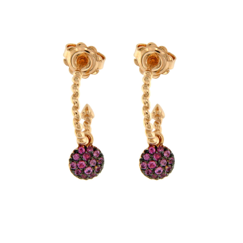 Orecchini oro rosa semicerchi motivo treccina zaffiri rosa pink sapphires earrings sconto discount 45348_Zrosa