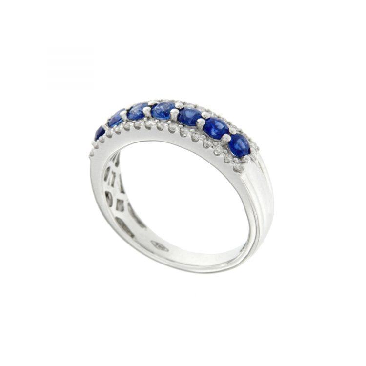 Anello Bon Ton oro bianco diamanti e zaffiri ring in white gold with diamonds and sapphires sconto discount