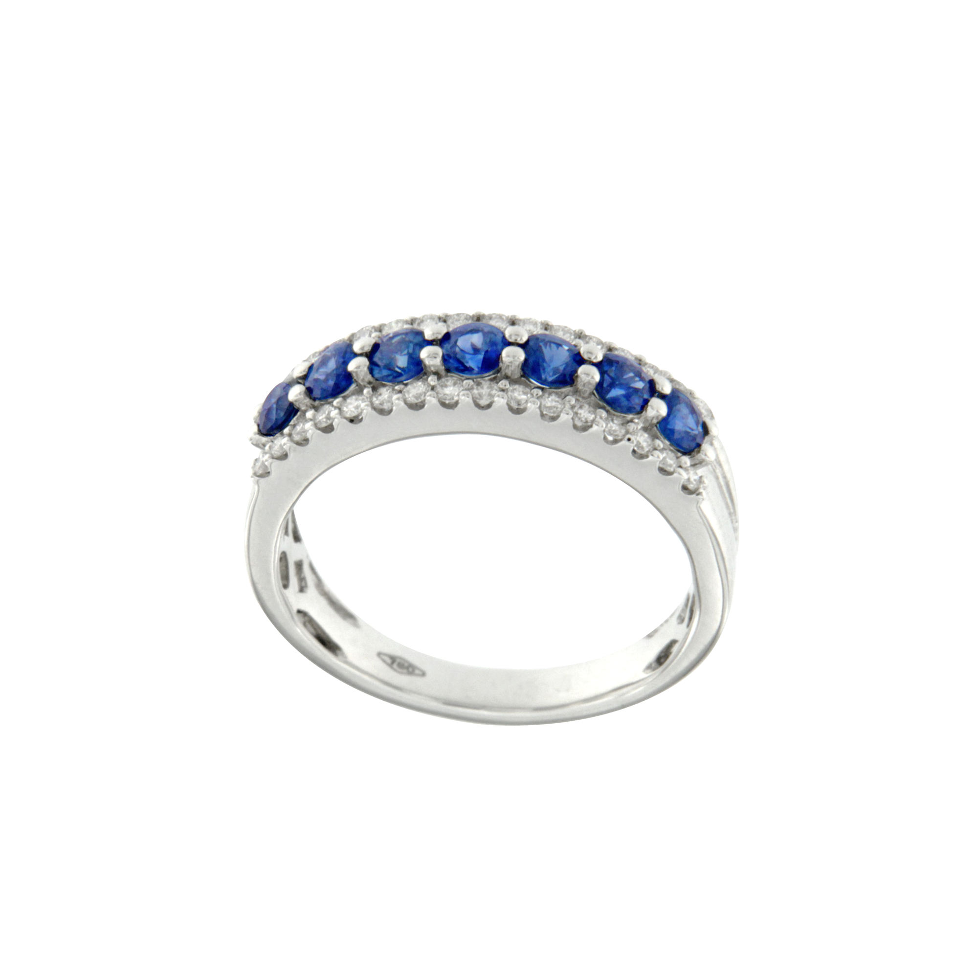 Anello Bon Ton oro bianco diamanti e zaffiri