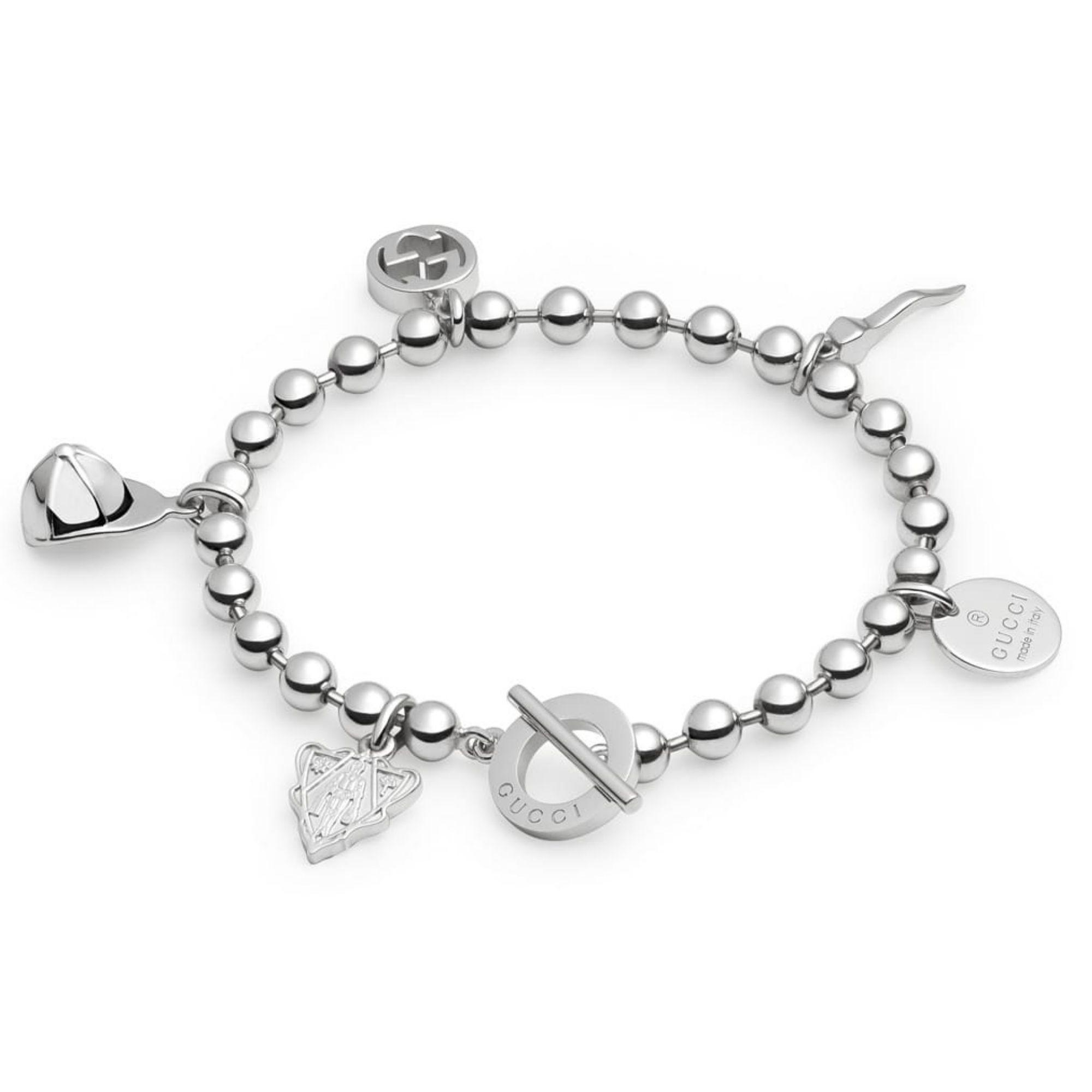 bracciale ciondoli interlocking gucci charms silver sconto discount bracelet