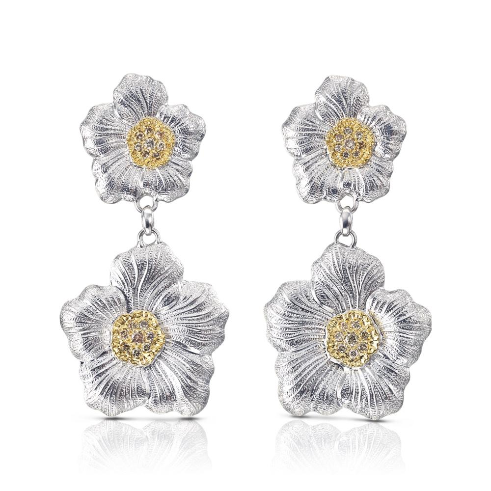 Orecchini Pendenti Gardenia diamanti brown diamonds earrings sconto discount