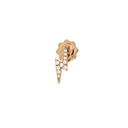 monorecchino fulmine oro rosa diamanti Rose gold diamonds lightning single earring