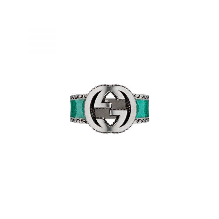 GUCCI Anello Interlocking con logo GG e smalto turchese
