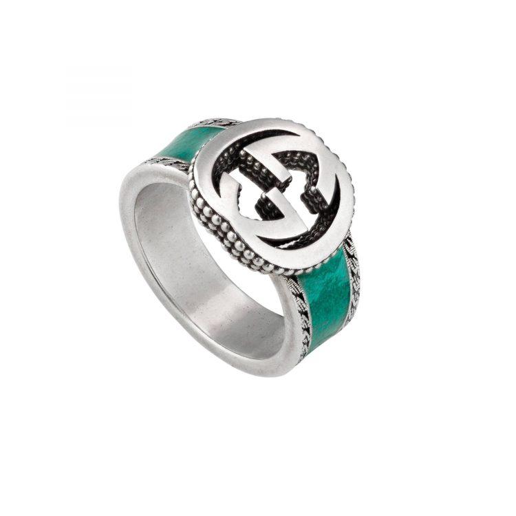 645572 Chevalier interlockin Gucci ring anello smalto turchese enamel torquise