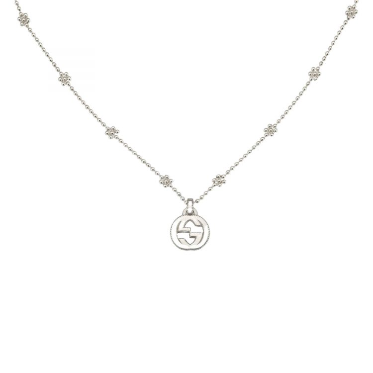 Light-Collana-con-ciondolo-GG-in-argento interlocking necklace sconto discount