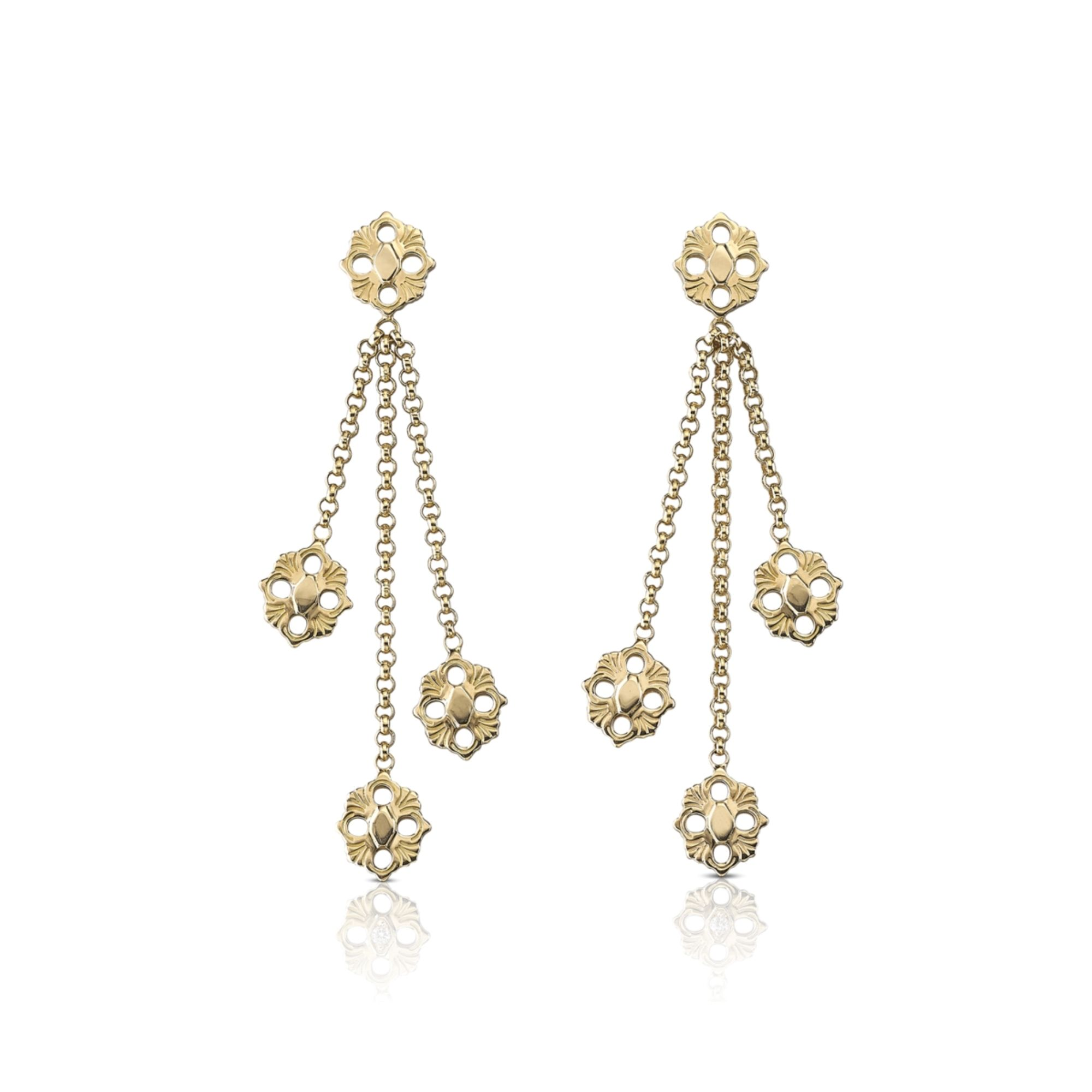 EAR013855 orecchini buccellati opera oro giallo pendenti earrings pendats gold sconto discount