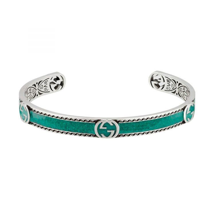 GUCCI Bracciale con logo GG e smalto turchese bracelet sconto discount 645570_J8410_8136_003_100_0000_Light-Bracciale-con-logo-GG a