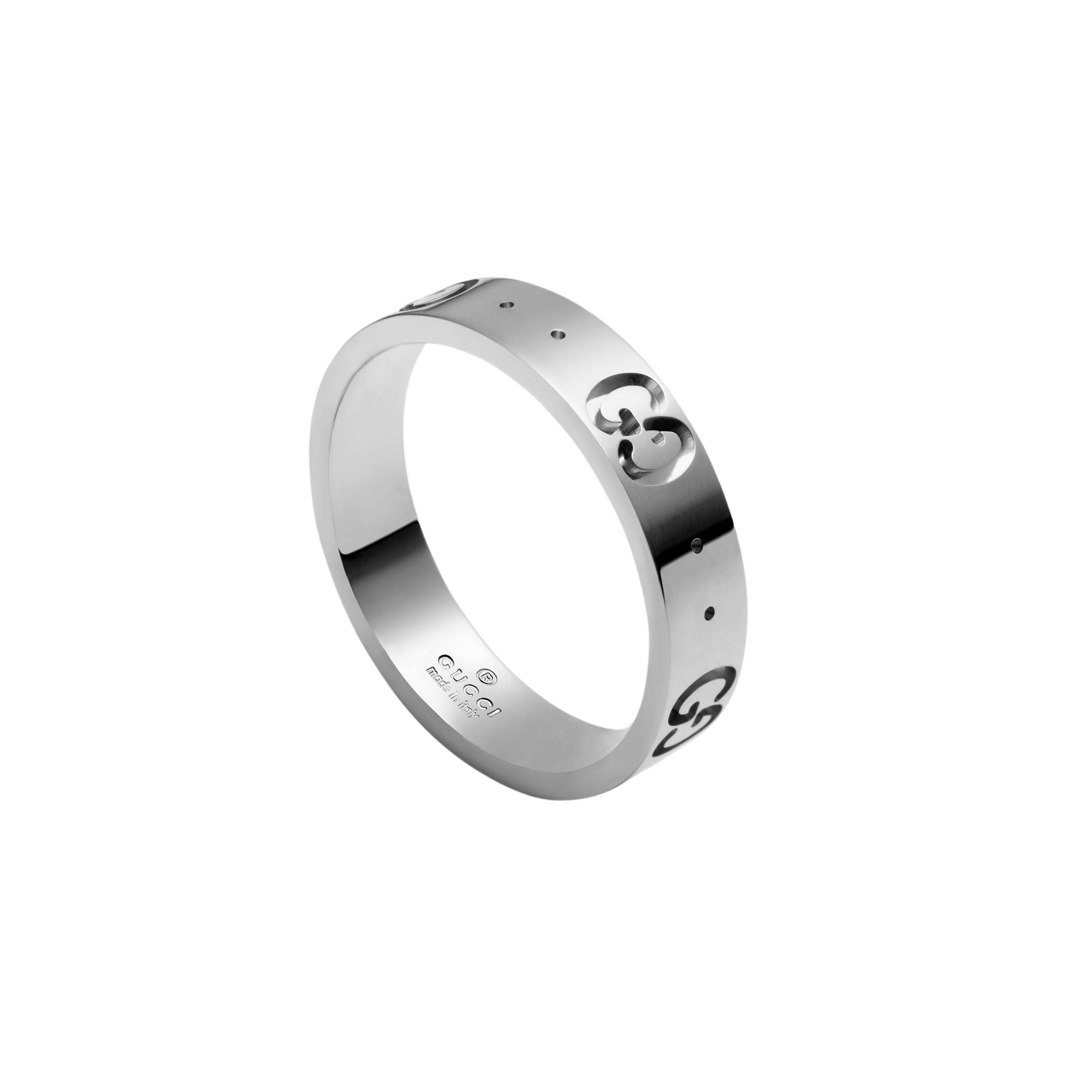 Gucci Anello Icon in oro bianco con GG ring sconto discount 660070 J8502 9000