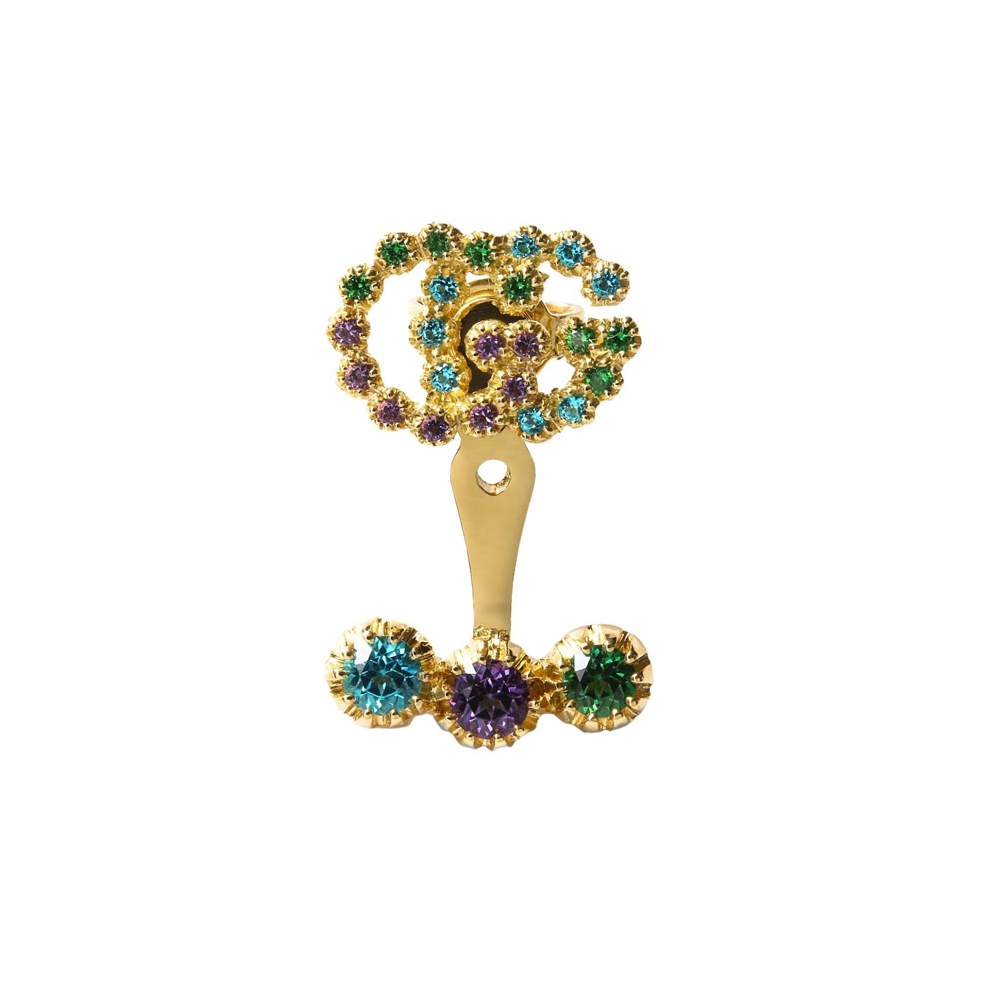 mono orecchino gucci con topazi multicolor earring single sconto discount