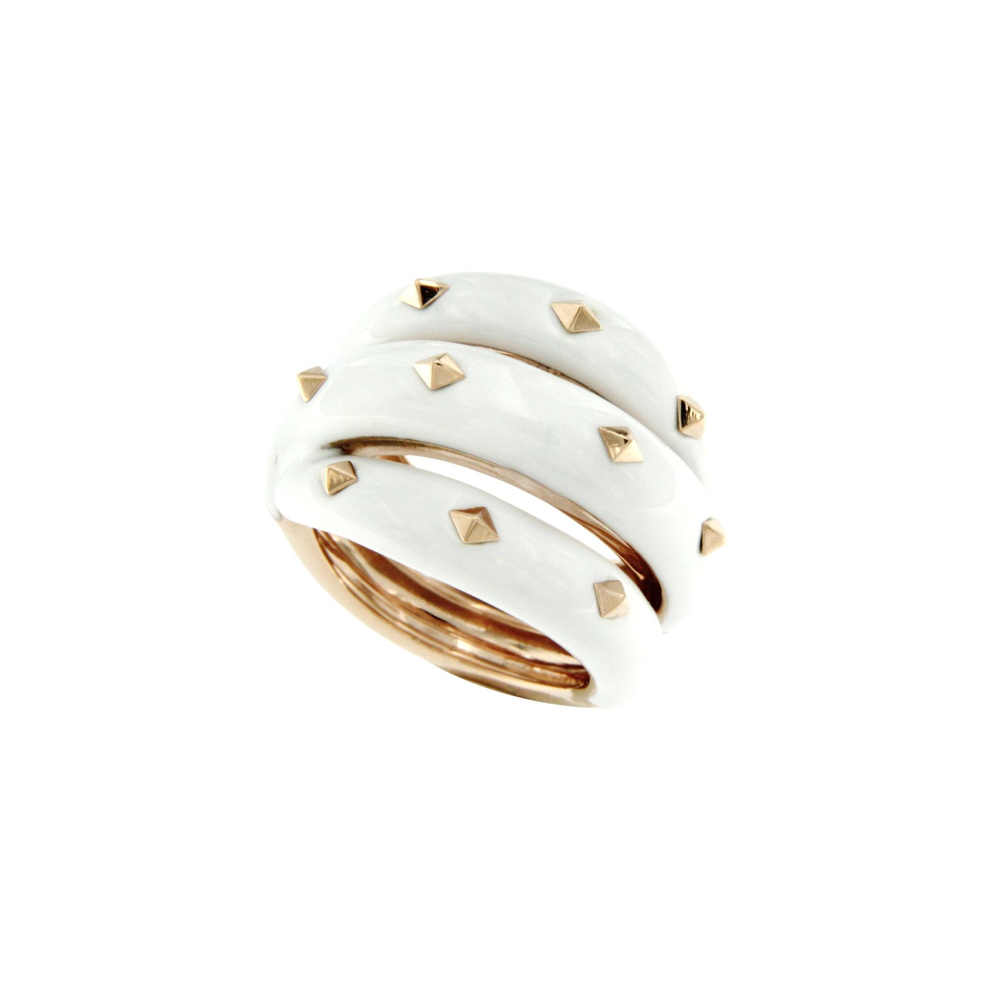 Anello carriva ring smalto bianco enamel white sconto discount
