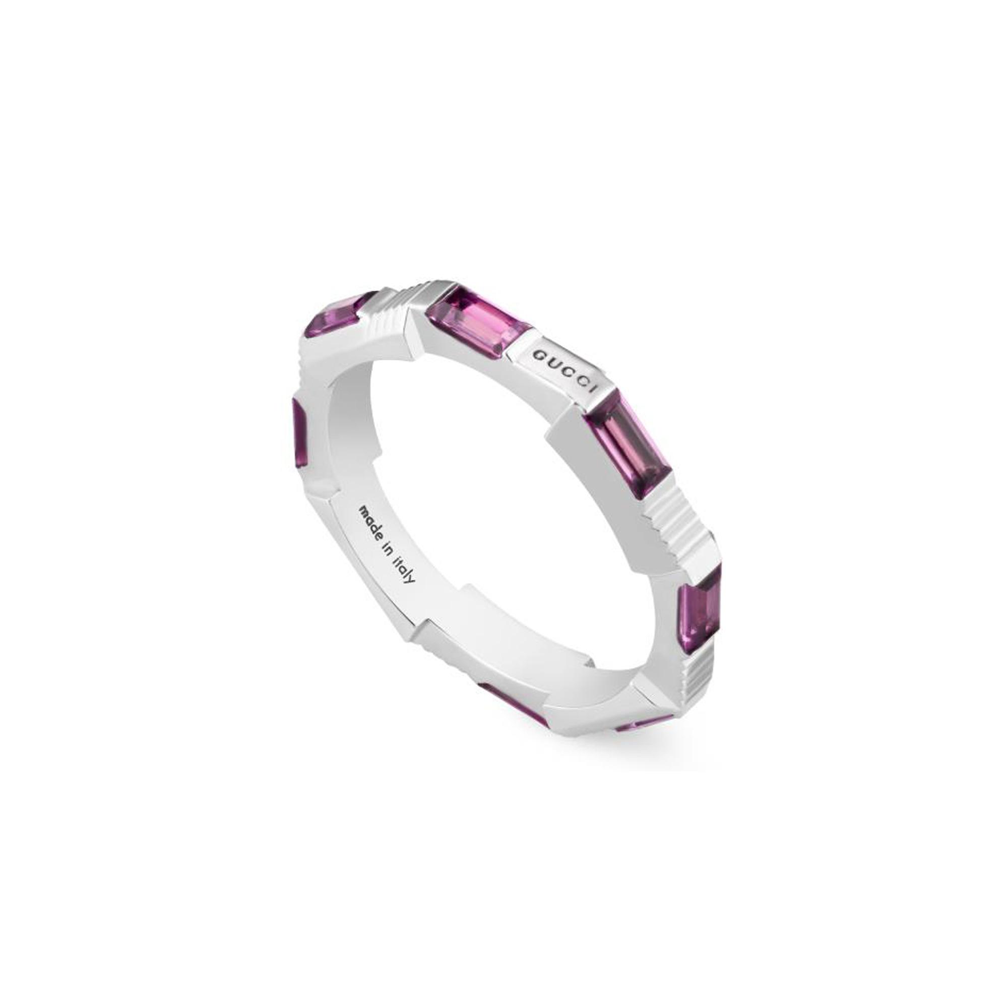 Anello Gucci Link to Love con rubelliti sconto discount ring