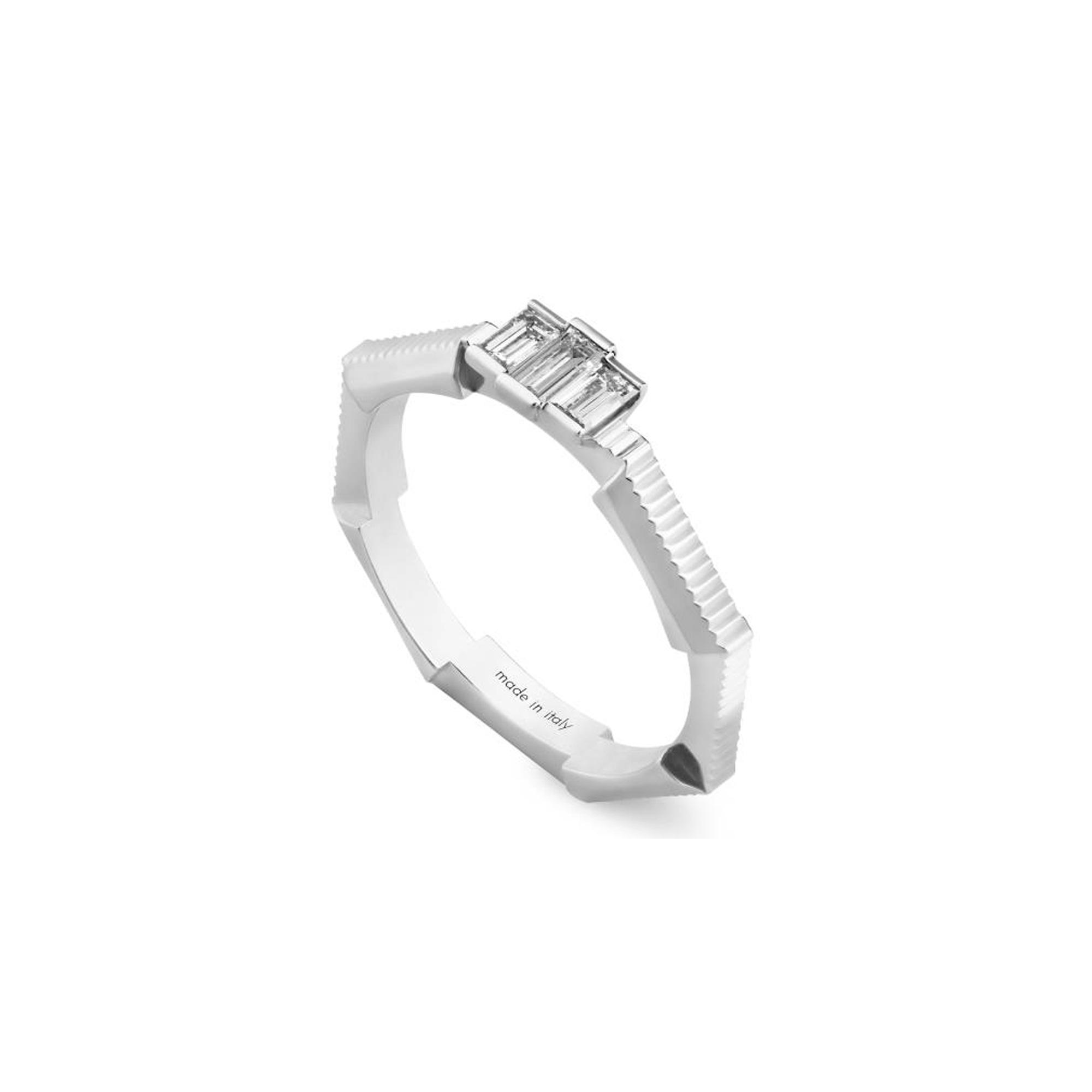 Gucci Link to Love anello con diamante baguette sconto discount ring