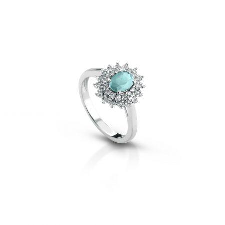 Anello in oro bianco 18 kt acquamarina 18 kt white gold ring aquamarine sconto discount engagement ring
