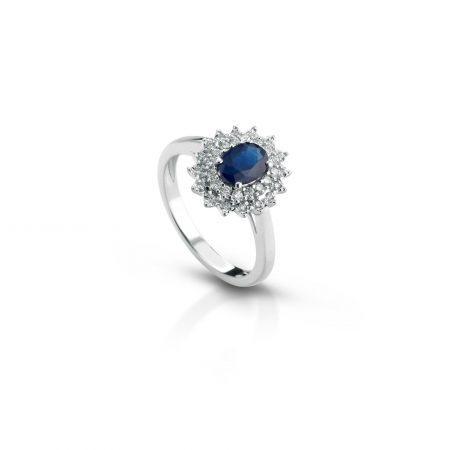 anello zaffiro e diamanti sapphire and diamond ring sconto discount engagement